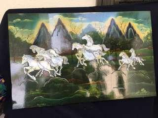 Wooden base Decor page artwork with 10 horses crafted n done pearl shelves