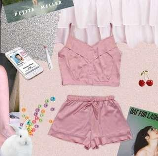 Pink satin pajama set
