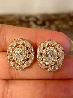 22k gold plated Austrian crystal studs new
