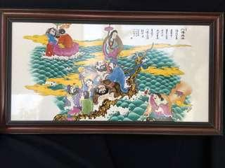 New porcelain plate decorated with Chinese 8 saints 90cm x 50 cm high . Offer