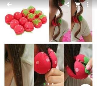 Freeong Roll rambut strawberry 8pcs