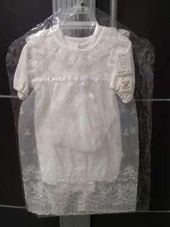 (NEW) 1 set dress newborn untuk akikah/aqiqah/ white dress mewah branded butik gaun bayi new born made in japan