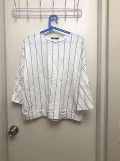 Limited Edition Baseball Pinstripe White Bell Sleeve Top