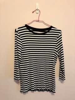 🚚 Lativ羅紋捲邊條紋T恤(7分袖)