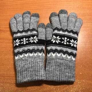 雙層保暖 觸控 手套 雪花 淺灰