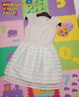 Mini dress line dress lengan pendek putih