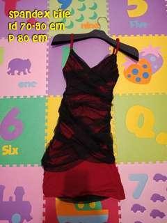Mini dress sexy spandex hitam merah