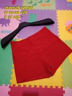 Hot pants high waist stretch merah kenyal