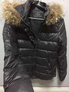 🚚 黑色連帽羽絨外套 修身 暖和 100% duck down 鴨絨
