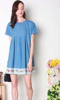 ACW Denim Embroidery Babydoll Dress In Mid Wash