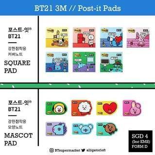 🚚 PO// BT21 x 3M post-it pads, tape, glue, earplugs