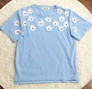 🚚 BN Baby Blue / Sky Blue Floral Pop Up Top