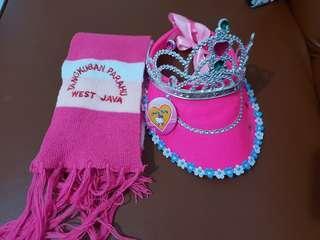 Syal + topi pink