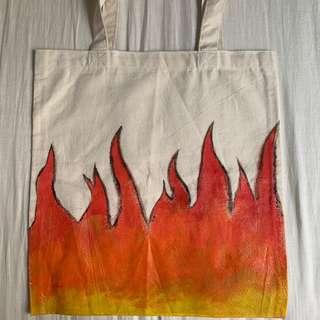 Hand Painted Tote Bag- Flame