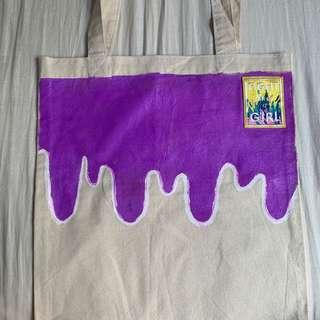🚚 Hand Painted Tote Bag- Fight Like A Girl