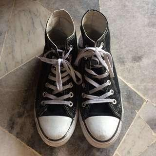 inspired converse black high cut sneakers
