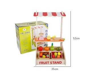 Wooden play toy fruits and vegetables stall market stand
