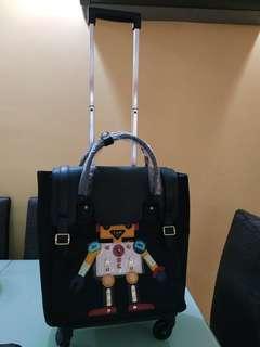 🚚 Black PVC Robot Print Trolley Bag