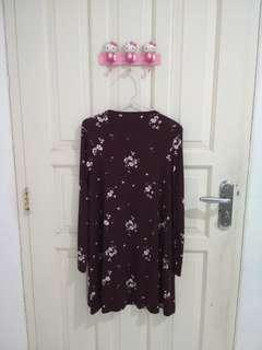 Pull n Bear Maroon Flower Dress