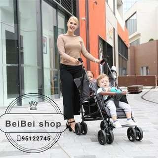 teaibaby 可變大小孩 一車兩用 前扶手可拆 孖B車 雙人嬰兒車 bb車 前後座 士的車 輕巧方便 $1499