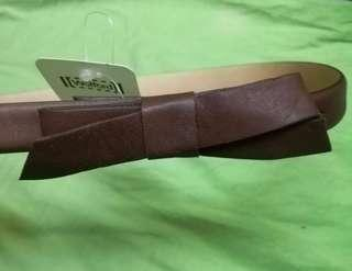 Wolford brown soft leather ribbon belt.