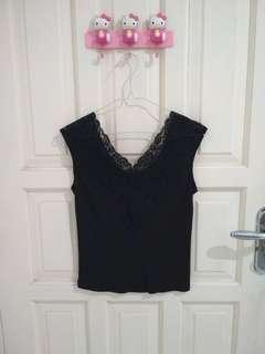 Black Tank Top Renda