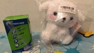 全新日本直送 可愛白色小狗 毛公仔