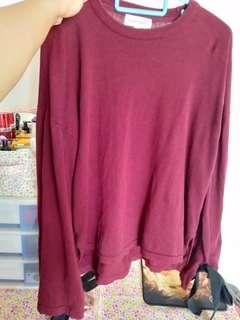 Maroon Blouse with Ribbon