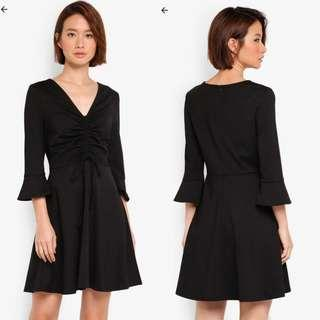 ZALORA Little Black Dress with Flare Sleeves
