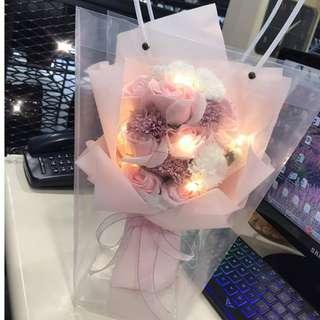 Lovely pink LED soap flower roses
