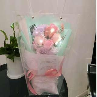 Tiffany Blue LED soap flower roses