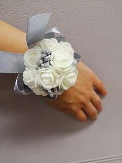 White and Silver Wedding Corsages x 5