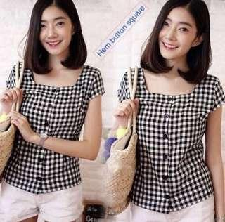 CHECKERED BUTTON TOP NEW