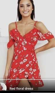 Red floral dress brand new
