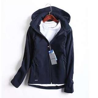 防風外套內裡搖粒絨 深藍色軟殼免運