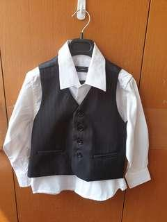 USED ONCE : Formal Dinner Full Suite for Boys (Jacket, Vest, White long sleeve shirt, Pants)