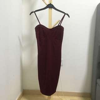 Playdress Sweetheart Bustier Dress in Oxblood