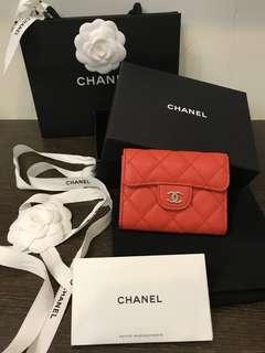 Chanel雙層零錢卡包 亮紅橘色銀釦 全新27開 不議價