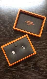 Hermes純銀豬鼻耳環