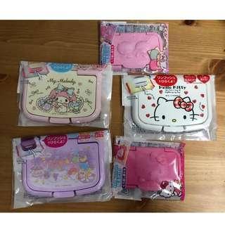日本進口卡通濕紙巾蓋(可循環使用),Little Twin star, Hello Kitty, Melody