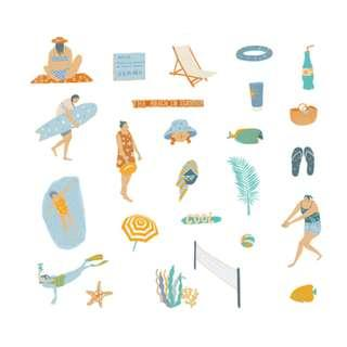 🚚 Elegant [Beach] Sticker Pack