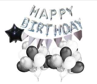 Back and white theme party set balloon