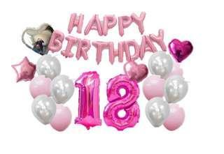 Sweet 18 balloon party set pink