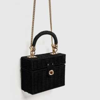 Zara Inspired Rattan Bag Black Raffia Weave Shoulder Package