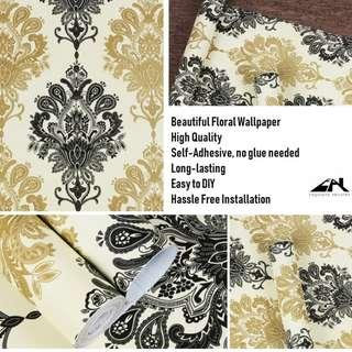 Gold Black Floral Wallpaper Sticker Decal Vinyl Home Decor