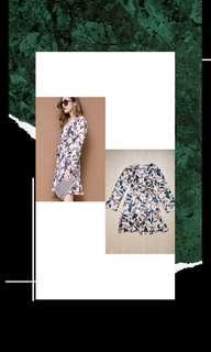 Summer dress long sleeve leaves daun dress
