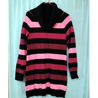 粉紅黑間樽領毛衣長款衫 (H&M) (二手) #sellmar19