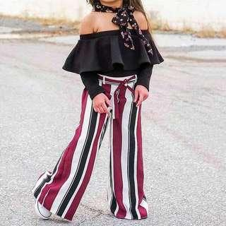 [PO] 2pc Off-Shoulder top + Striped pants