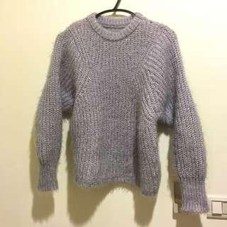 🚚 紫灰 圓領 毛衣 M
