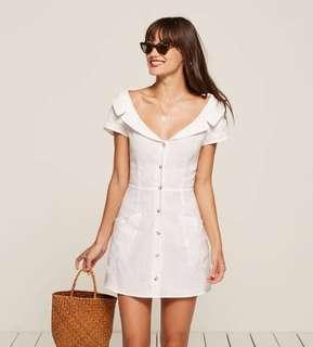 Reformation Ford Linen Mini Dress in White - Size 12-14 RRP $280